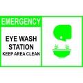 Emergency Sign - Eye Wash Station Keep Area Clean