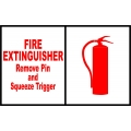 Fire Extinguisher Remove Pin and Squeeze Trigger