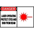 Danger Sign - Laser Operating Protect Eyes And Skin From Beam