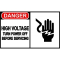 Danger Sign - High Voltage Turn Power Off Before Servicing