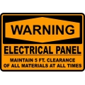 Warning Sign - Electrical Panel Maintain 5 FT. Clearance Of All...